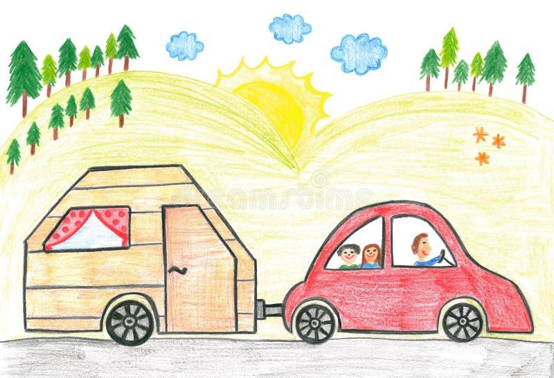 Carro de família com caravana ilustração stock