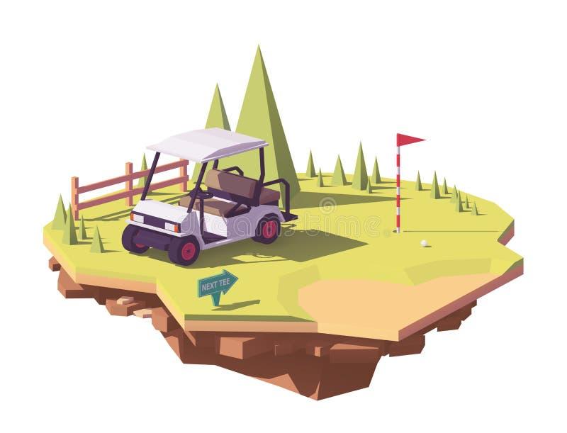 Carro de golf polivinílico bajo del vector ilustración del vector
