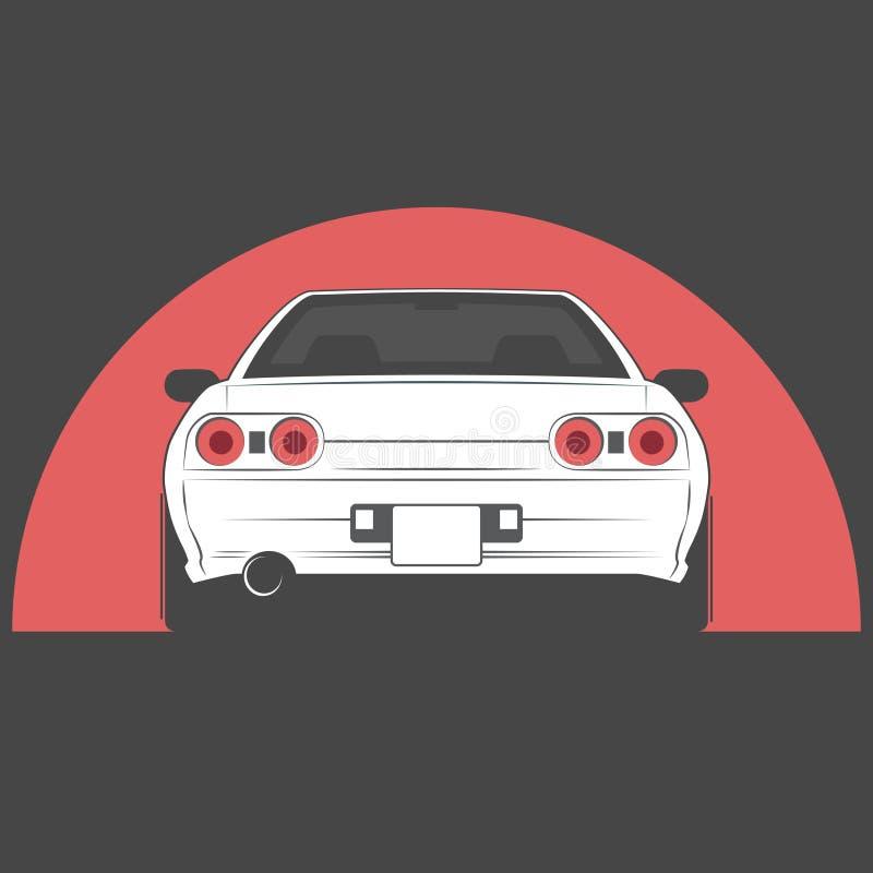 Carro de japão do esporte Esboço do carro Vista traseira ilustração royalty free