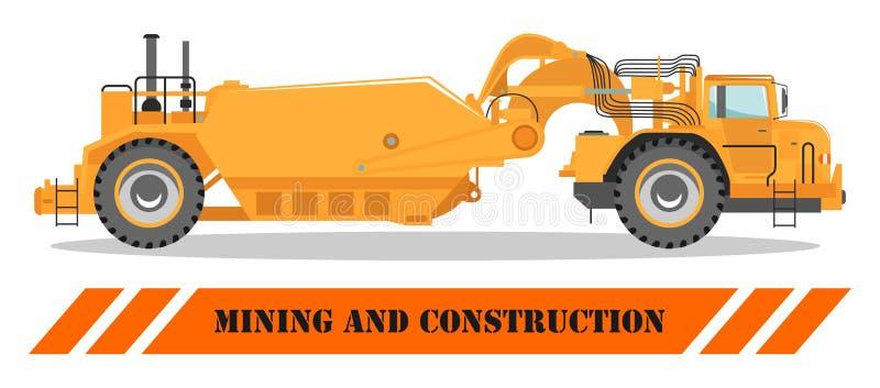 carro de la apagado-carretera Rafadora y material de construcción pesados Ilustración del vector stock de ilustración