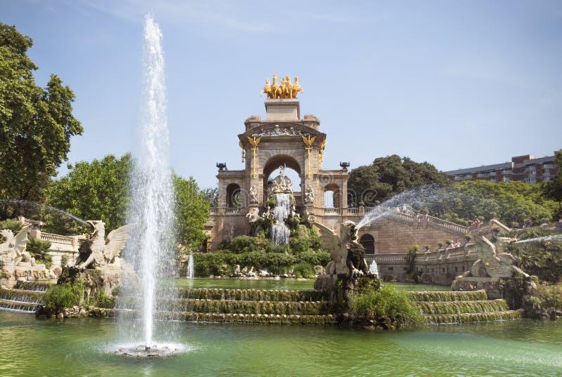 Carro de la Aurora fountain. BARCELONA, SPAIN - JULY 12, 2015: Carro de la Aurora in Ciutadella park in Barcelona, Spain stock images