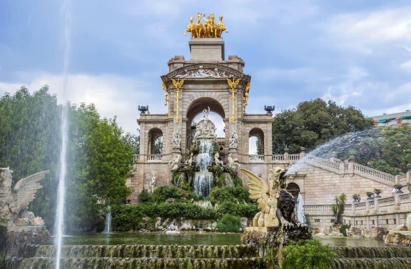 Carro de la Aurora fountain in Barcelona stock photos