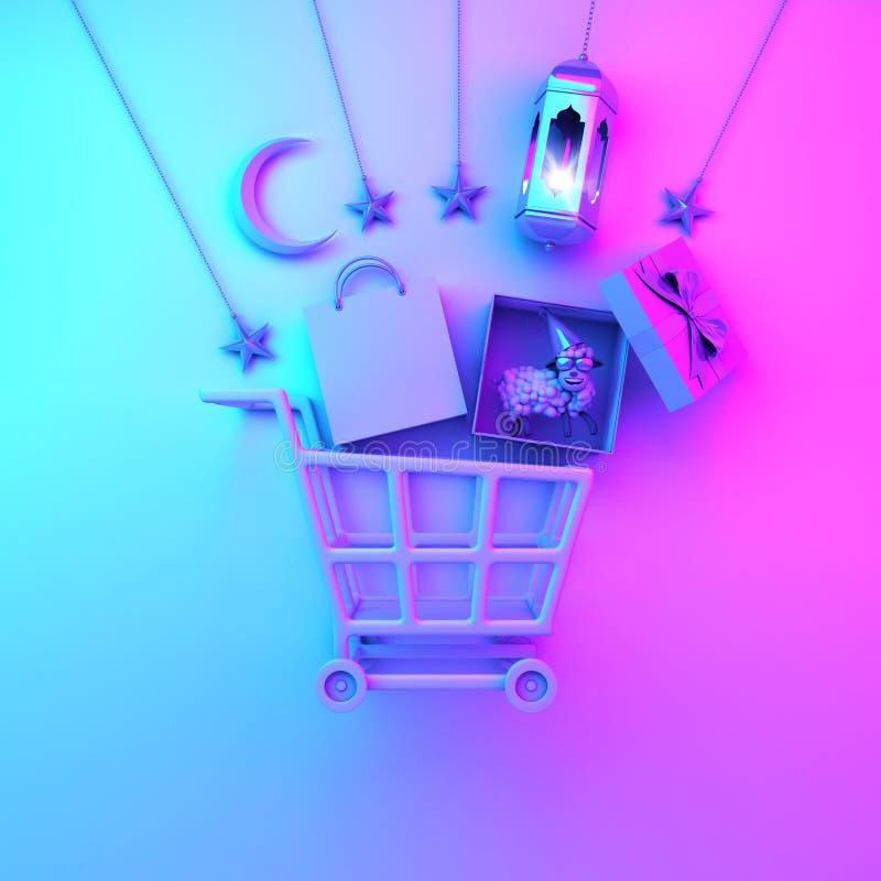 Carro de la carretilla, bolsa de papel, linterna árabe, estrella, caja de regalo, oveja, luna creciente en fondo rosado azul de l stock de ilustración