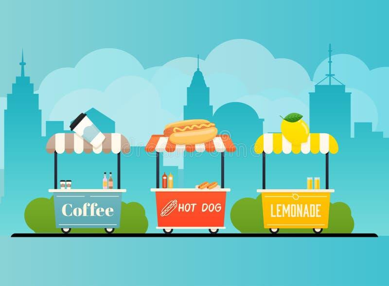 Carro de la comida de la calle Paisaje urbano Concepto moderno del ejemplo del vector del dise?o plano libre illustration