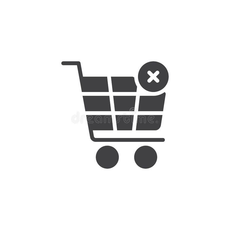 Carro de la compra con el icono cruzado del vector de la muestra libre illustration