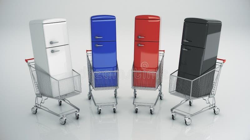 Carro de la compra con el refrigerador ilustración del vector