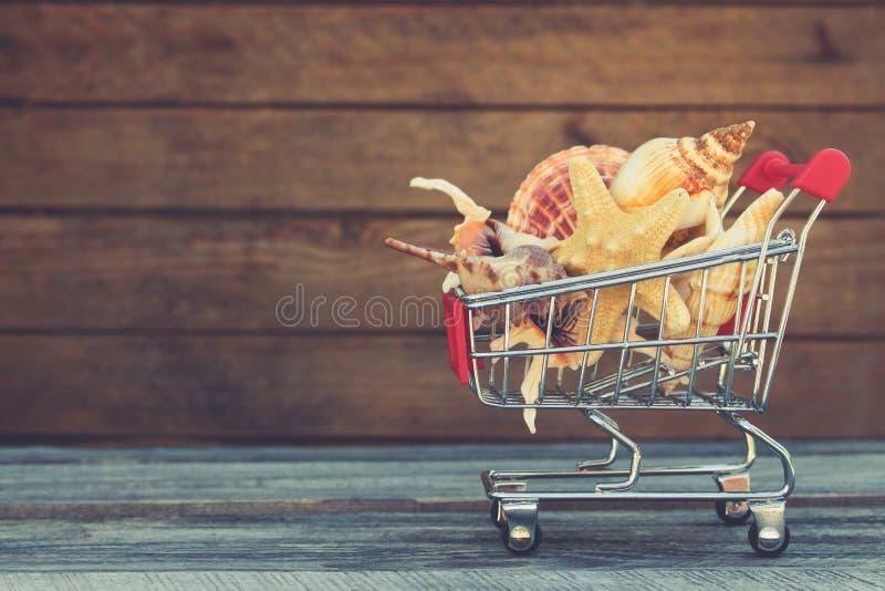 Carro de la compra con las conchas marinas imagenes de archivo
