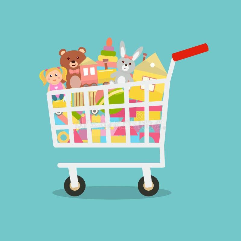 Carro de la compra con los juguetes ilustración del vector