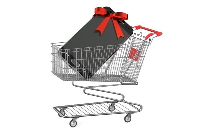 Carro de la compra con smartphone ilustración del vector