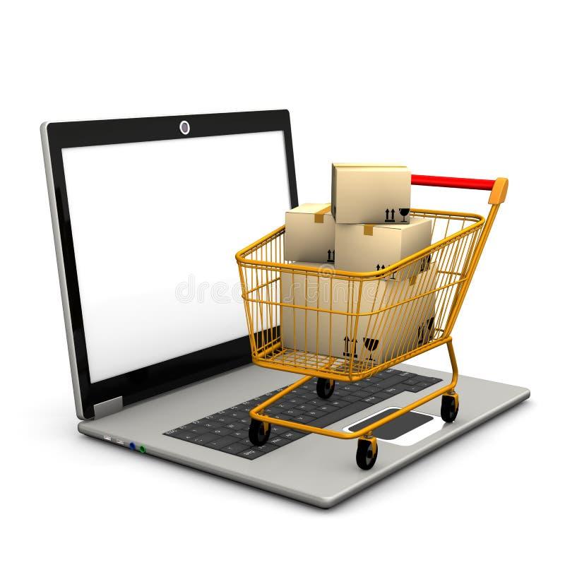 Carro de la compra de la computadora portátil stock de ilustración
