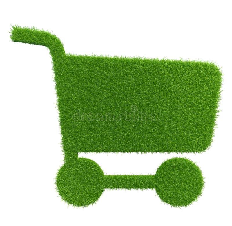Carro de la compra de la hierba verde Textura del fondo natural imagenes de archivo