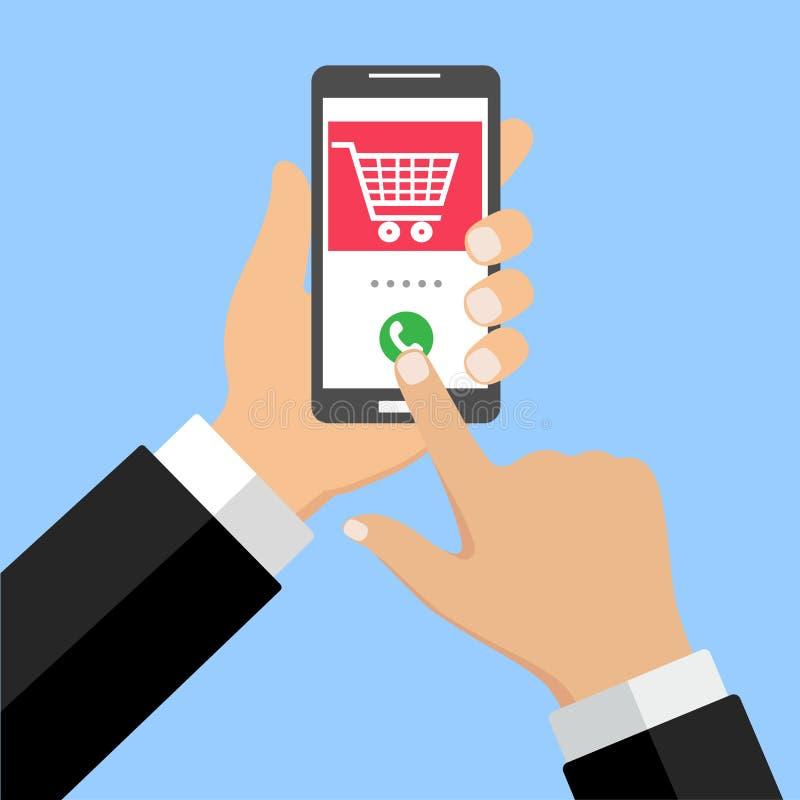 Carro de la compra del teléfono móvil, speechillustration rojo, concepto de la notificación en línea el ordenar, comercio electró ilustración del vector