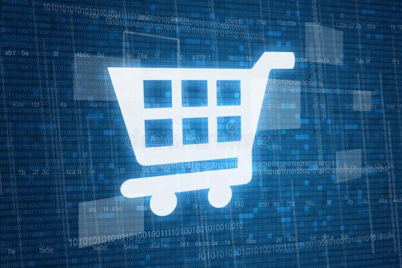Carro de la compra en fondo digital fotos de archivo