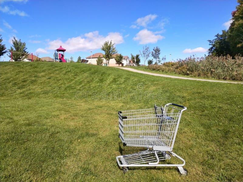 carro de la compra en un parque fotografía de archivo libre de regalías