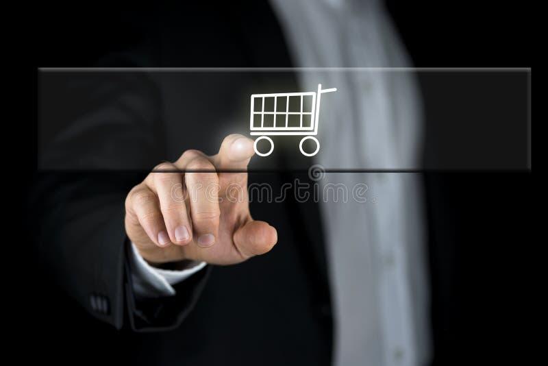 Carro de la compra en una barra de navegación foto de archivo