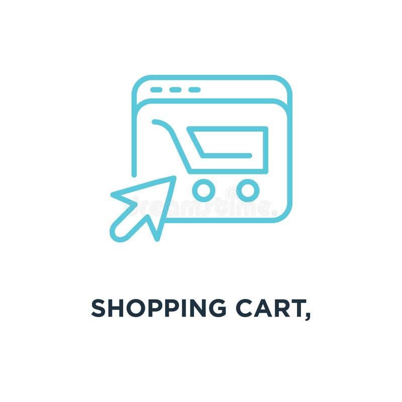 carro de la compra, orden terminado, icono de e concepto linear del comercio libre illustration