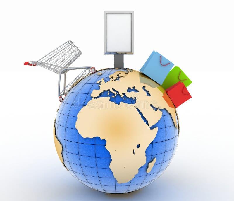Carro de la compra, panieres y cartelera en un globo Concepto del comercio mundial ilustración del vector