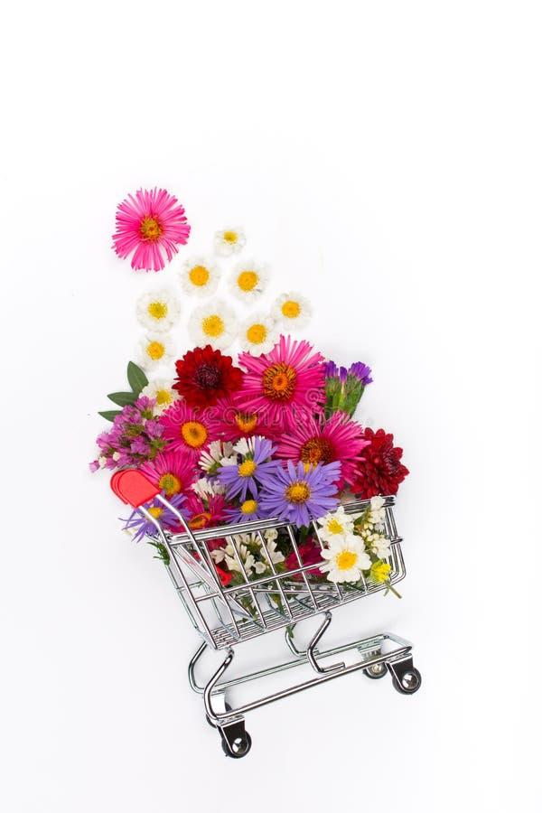 Carro de la compra por completo de diversos wildflowers en el fondo blanco imagenes de archivo