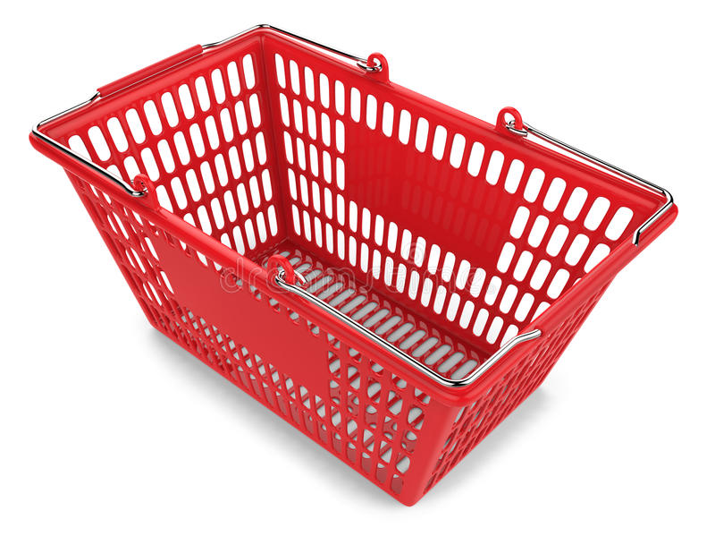 Carro de la compra rojo en el fondo blanco imagen de archivo