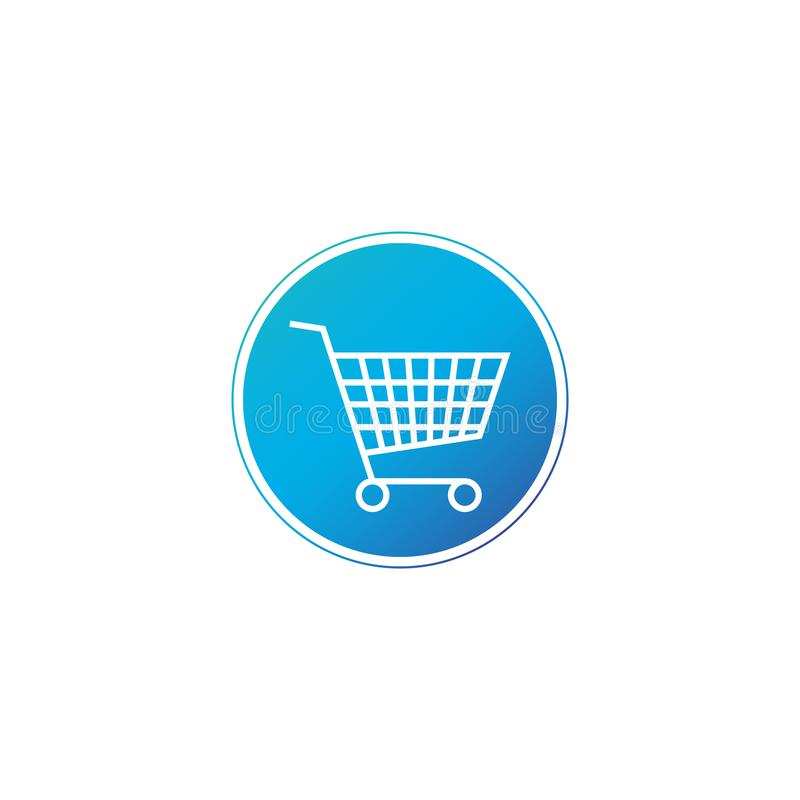 Carro de la compra, símbolo del purschase en círculo Agregue al botón del carro Diseño simple, plano para la web o app móvil Ilus stock de ilustración