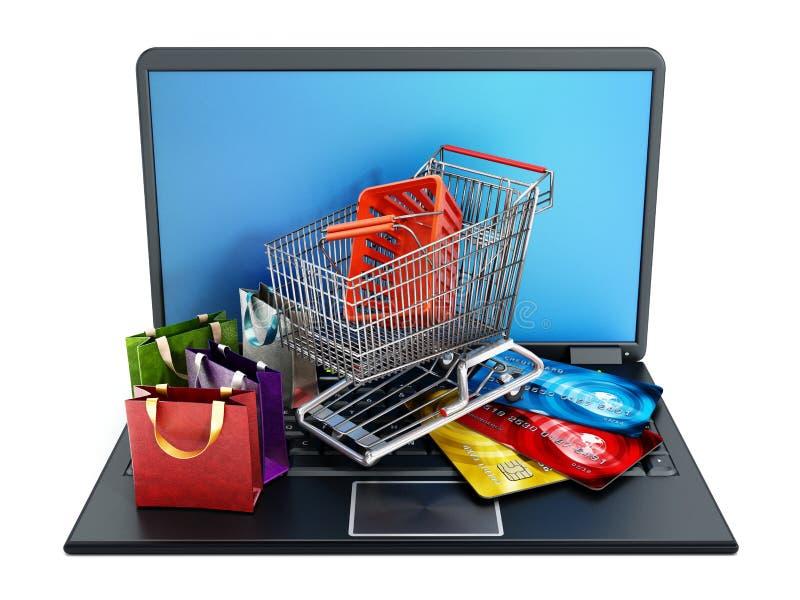 Carro de la compra, tarjetas de crédito y bolsos colocándose en el ordenador portátil ilustración del vector