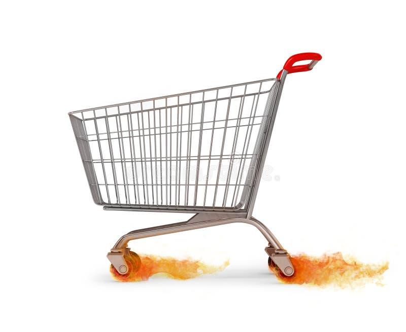 Carro de la compra vacío original que se mueve dejando el fuego en whee imagenes de archivo