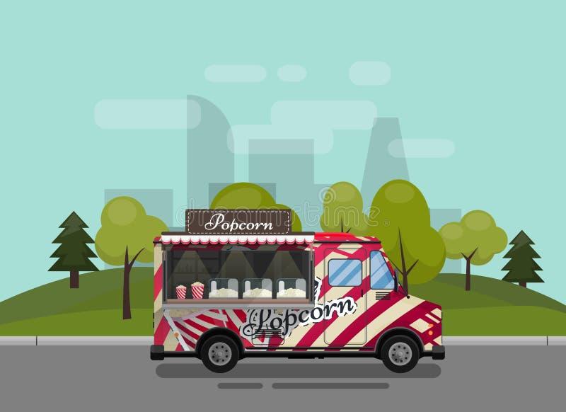 Carro de las palomitas, quiosco en las ruedas, minoristas, dulces y productos de la confitería, y estilo plano contra libre illustration