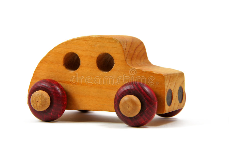 Carro de madeira 1 do brinquedo imagem de stock