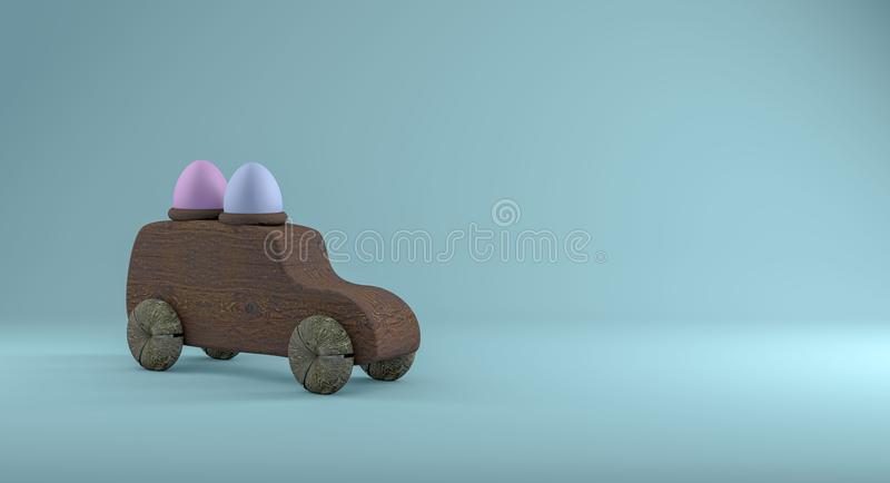 Carro de madeira de easter com os dois ovos no telhado, um backgro de turquesa ilustração stock