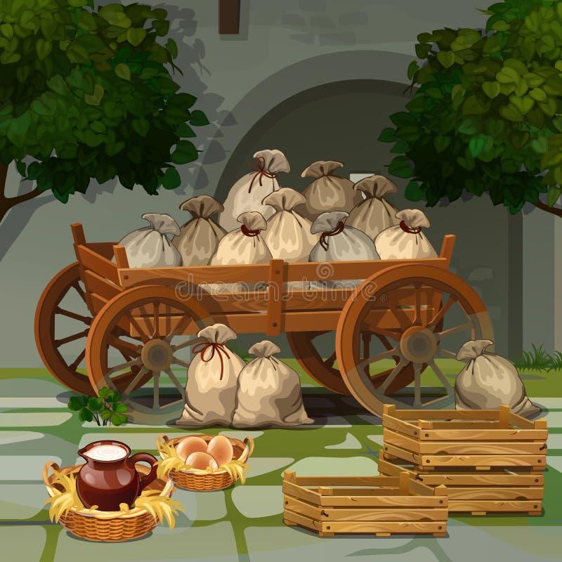 Carro de madeira velho com sacos ilustração royalty free