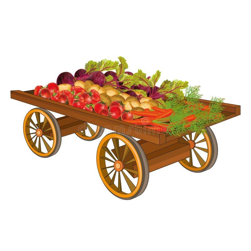 Carro de madera con la cosecha de verduras stock de ilustración