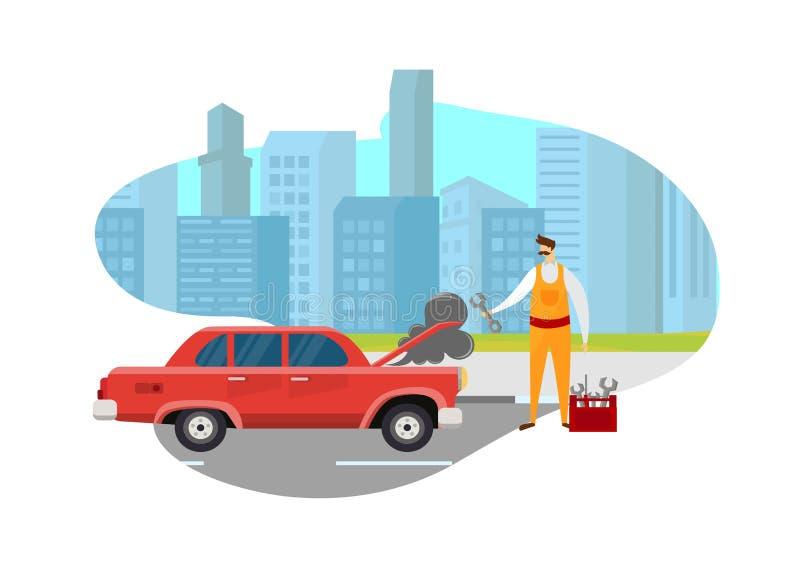 Carro de Man Looking Broken do mecânico na estrada na cidade ilustração royalty free