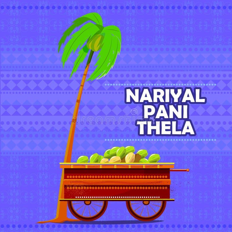 Carro de Nariyal Pani do indiano que representa o alimento da rua da Índia ilustração do vetor