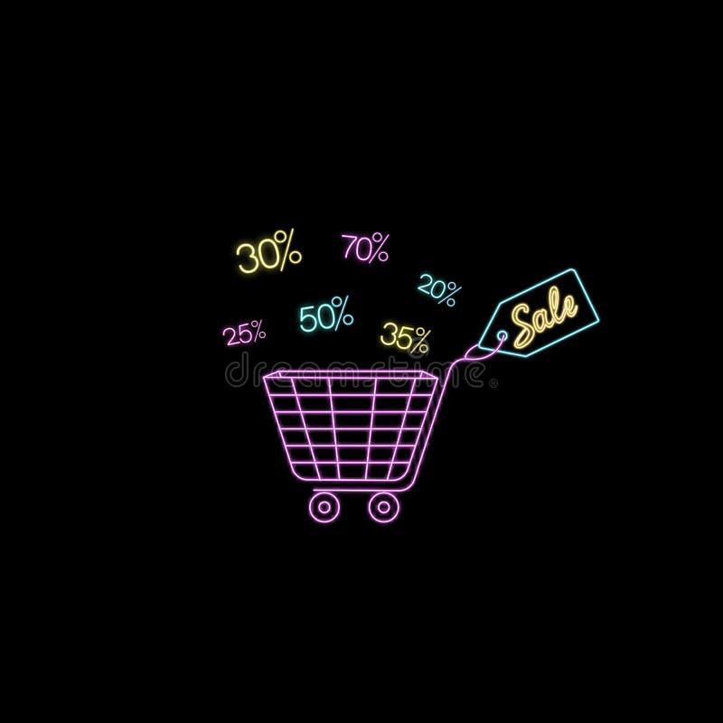 Carro de neón para hacer compras Etiqueta de la venta Diseño de la plantilla para el descuento, vale, anuncio stock de ilustración