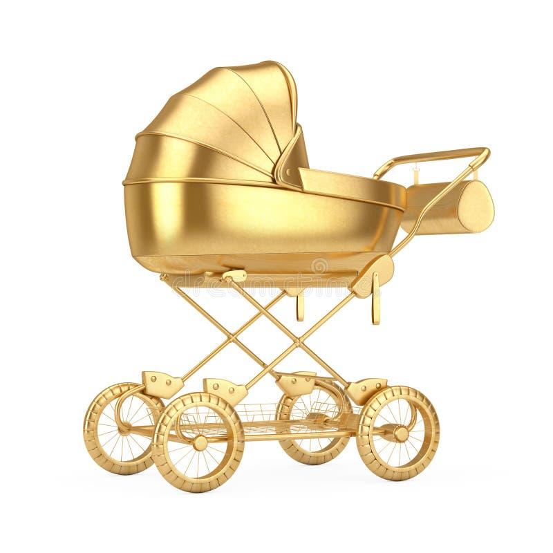 Carro de oro del bebé moderno, cochecito, mofa del cochecito de niño para arriba representaci?n 3d foto de archivo libre de regalías