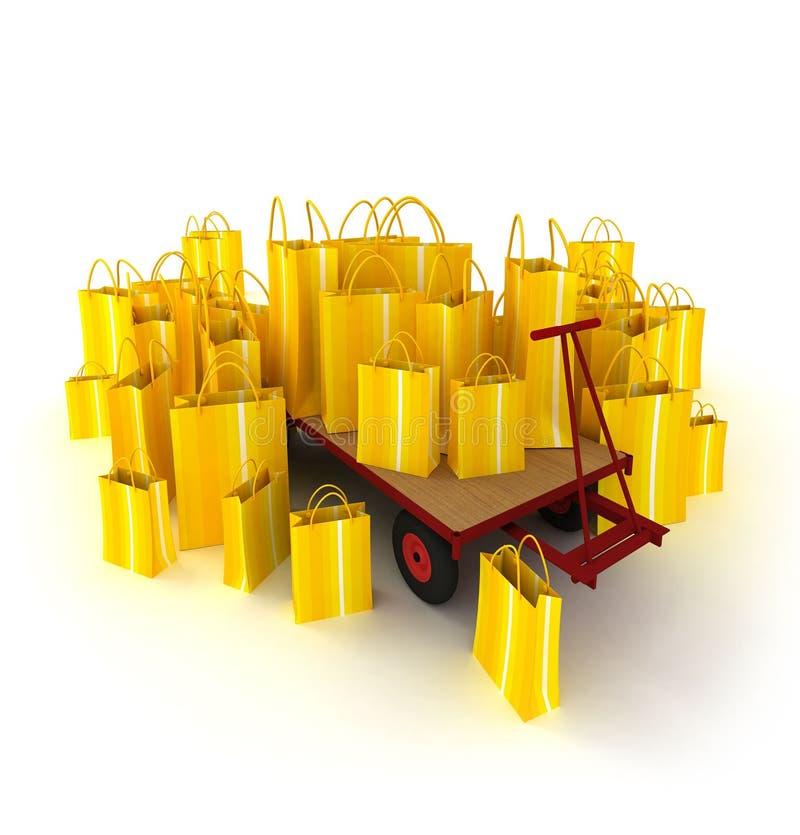 Carro de paleta por completo de los bolsos de compras amarillos stock de ilustración