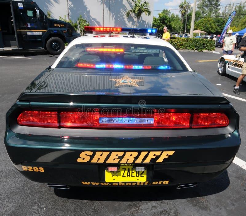 Carro de polícia com luzes sobre foto de stock royalty free