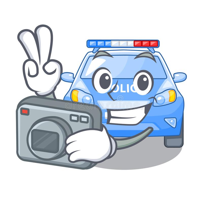 Carro de polícia diminuto dos desenhos animados do fotógrafo na tabela ilustração stock