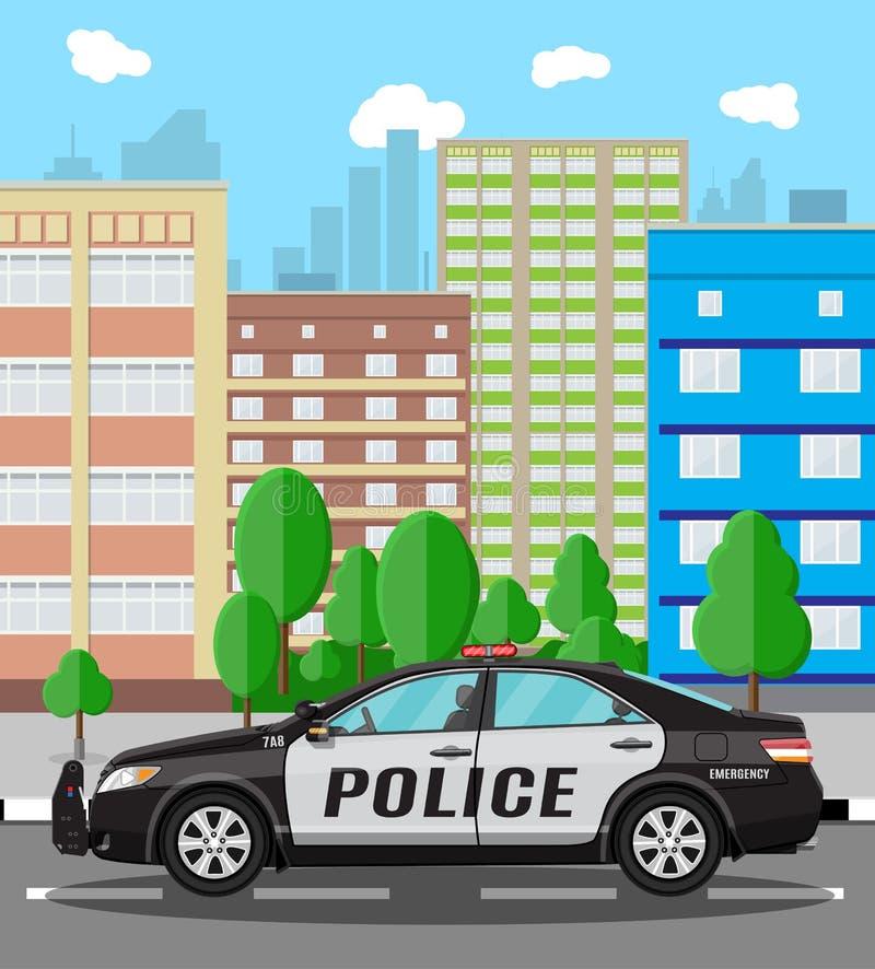 Carro de polícia genérico no fundo da arquitetura da cidade ilustração royalty free