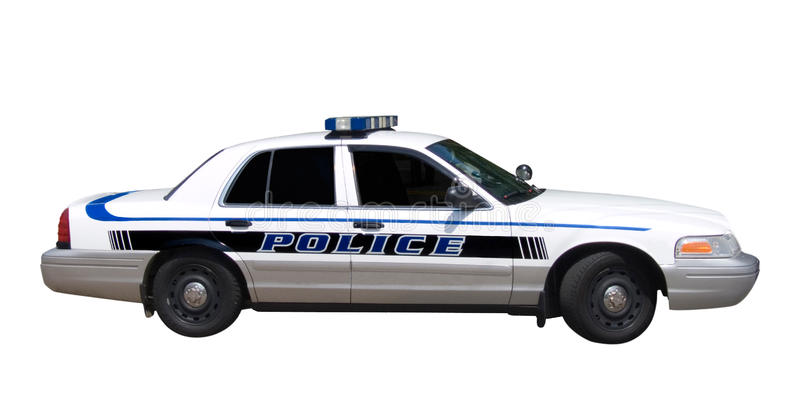 Carro de polícia isolado imagens de stock royalty free