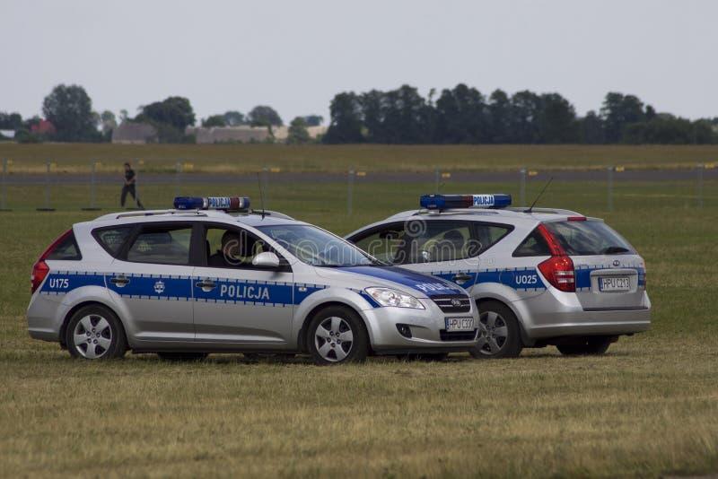 Carro de polícia polonês fotografia de stock