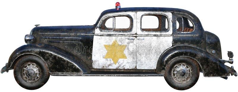 Carro de polícia retro velho do vintage isolado fotos de stock royalty free
