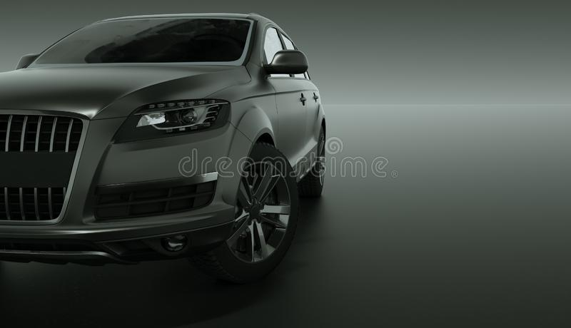 Carro de prata de SUV no fundo escuro ilustração 3D ilustração do vetor