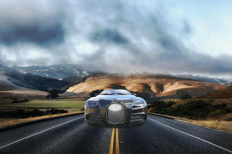 Carro de pressa, estrada, estrada, curso, automóvel fotos de stock royalty free