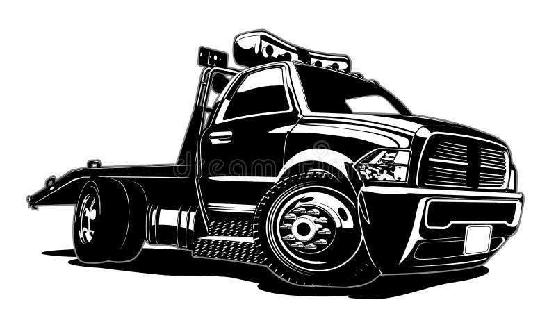 Carro de remolque de la historieta aislado en el fondo blanco stock de ilustración