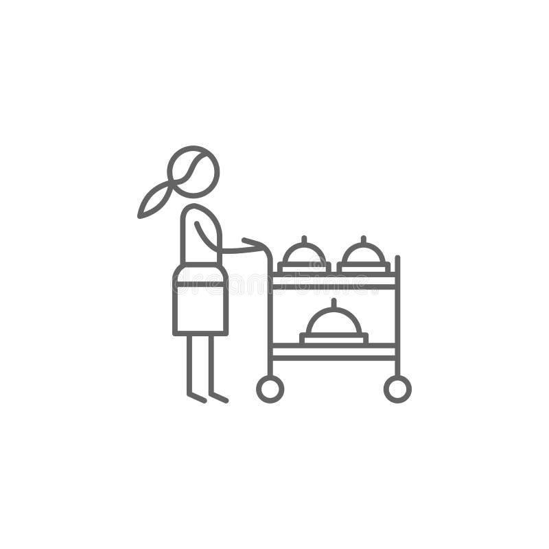 Carro de serviço, ícone da empregada de mesa Elemento do ?cone do restaurante Linha fina ?cone para o projeto do Web site e o des ilustração do vetor