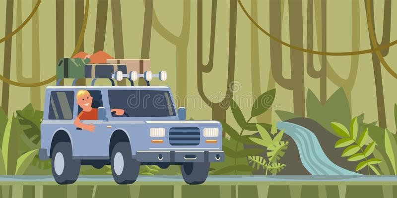 Carro de SUV com bagagem no telhado e indivíduo de sorriso atrás da roda que move-se através do veículo fora de estrada da flores ilustração royalty free