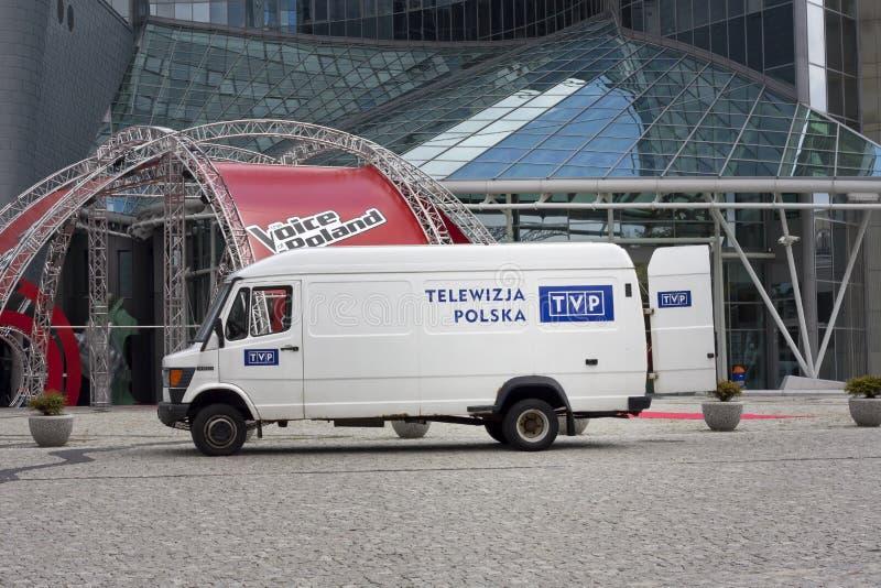 Carro de TVP na televisão polonesa das matrizes imagens de stock royalty free