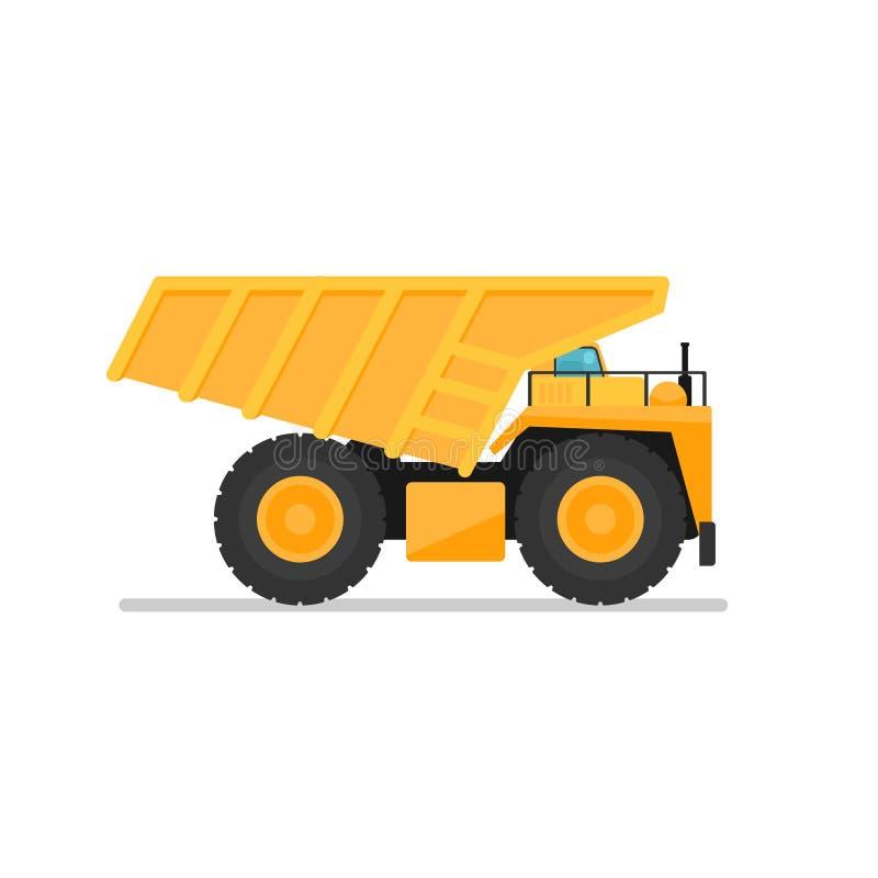 Carro de vaciado amarillo de la explotación minera ilustración del vector