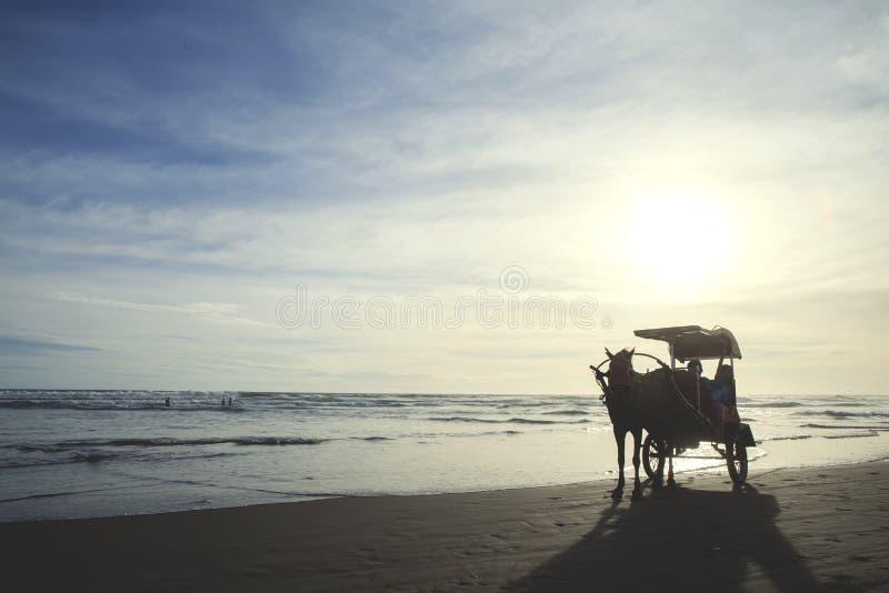 Carro del caballo en la playa imagen de archivo libre de regalías